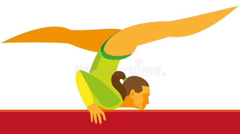 La giovane ragazza graziosa della ginnasta A è una ginnasta che esegue i exercis royalty illustrazione gratis