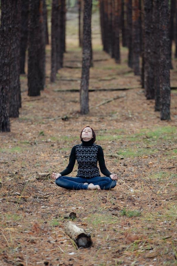 La giovane ragazza graziosa si siede in una posizione di loto in natura in un conife fotografia stock