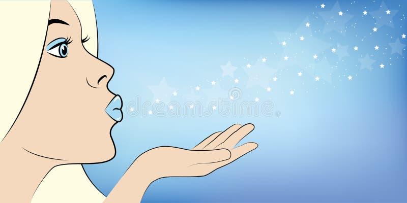 La giovane regina del ghiaccio soffia la polvere di stella illustrazione di stock