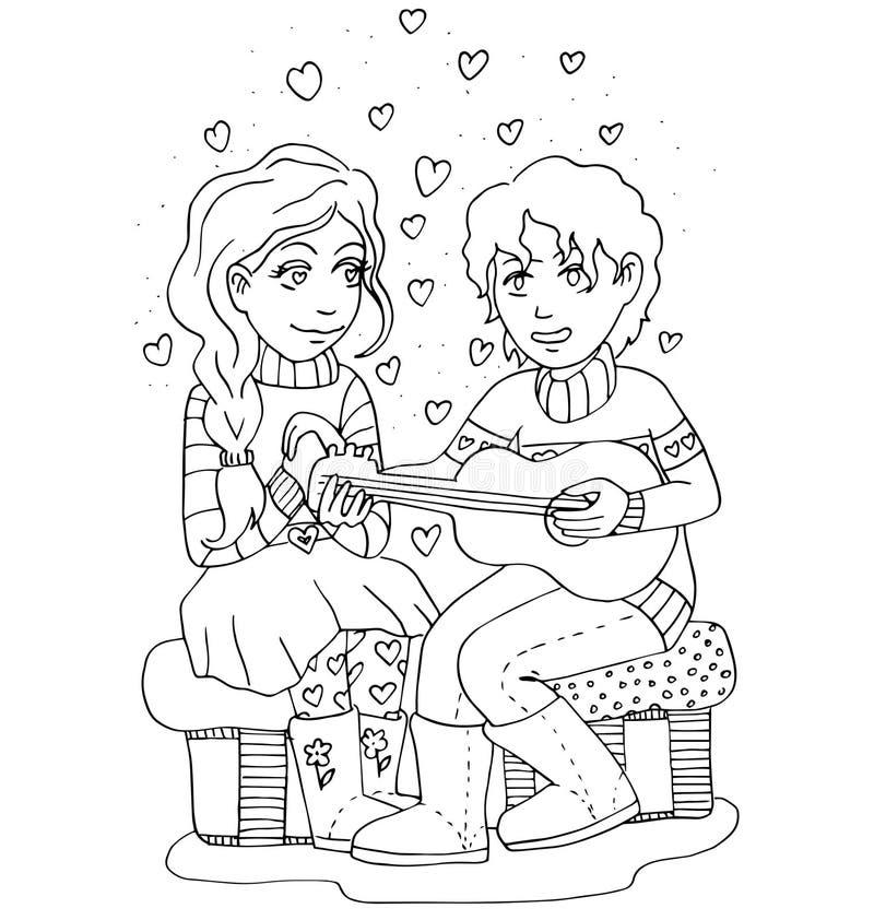 La gioventù celebra l'amore, il primo amore, giovane disegno della mano di primo bacio per colorare royalty illustrazione gratis