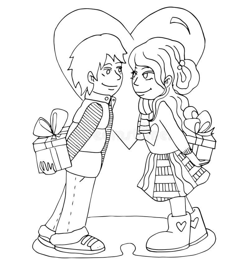 La gioventù celebra l'amore, il primo amore, giovane disegno della mano di primo bacio per colorare illustrazione di stock
