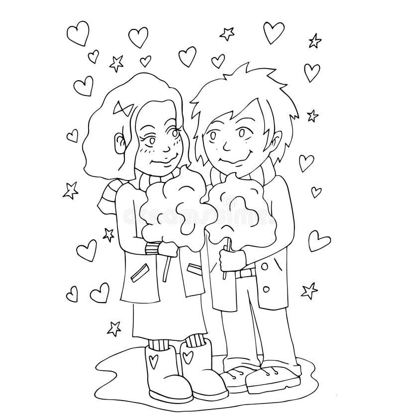 La gioventù celebra l'amore, il primo amore, giovane disegno della mano di primo bacio per colorare illustrazione vettoriale