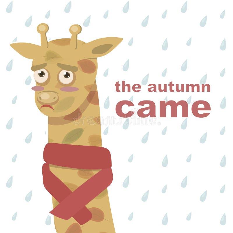 La girafe orange triste de bande dessinée dans des feuilles d'automne et une écharpe rouge sur le fond des gouttes de pluie avec  illustration stock