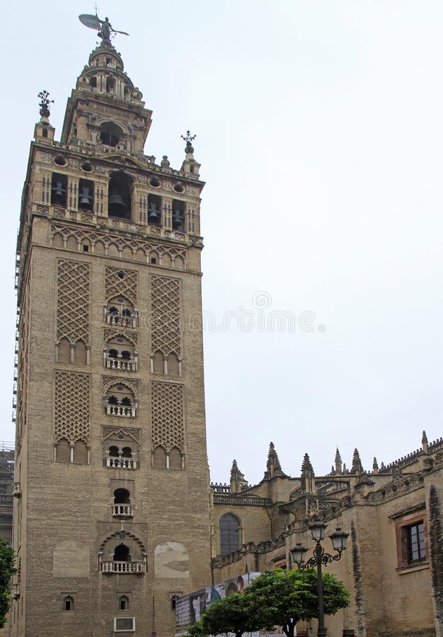 La Giralda is the bell tower of Seville cathedral stock image
