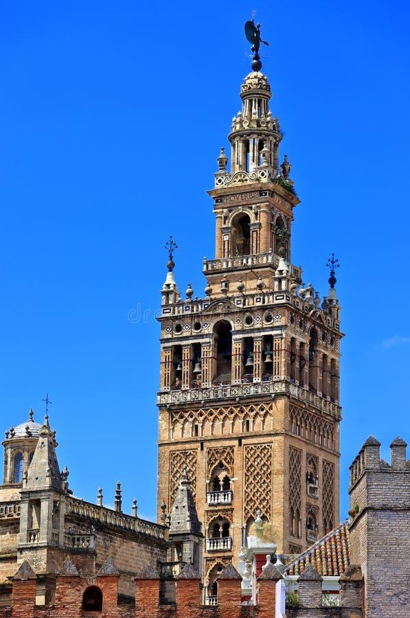 La Giralda, beroemde Kathedraal van Sevilla in Andalucia, Unesco-de Plaats van de Werelderfenis stock fotografie