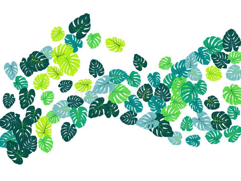La giungla tropicale verde lascia lo spargimento di vettore Fondo di estate della pianta di monstera o del Philodendron illustrazione vettoriale