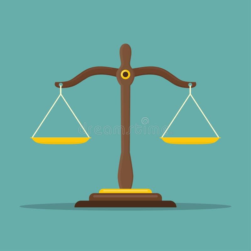 La giustizia riporta in scala l'icona Simbolo dell'equilibrio di legge Bilancia nella progettazione piana Illustrazione di vettor illustrazione di stock