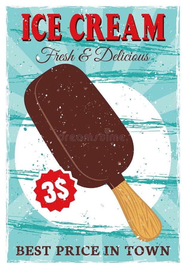La glace à l'eau de crème glacée sur le bâton a coloré l'affiche de vintage illustration libre de droits