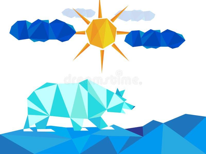 La glace blanche concernent le paysage avec des icebergs l'hiver avec le soleil et des nuages illustration stock