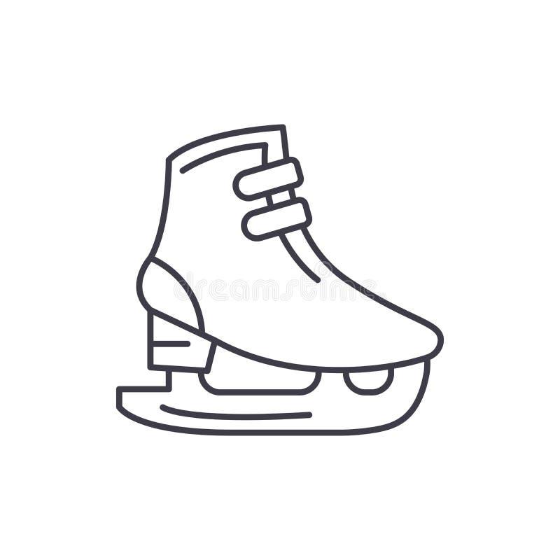 La glace patine ligne concept d'icône Les raies de glace dirigent l'illustration linéaire, symbole, signe illustration stock