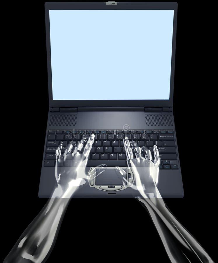 La glace remet le type sur l'ordinateur portatif illustration libre de droits