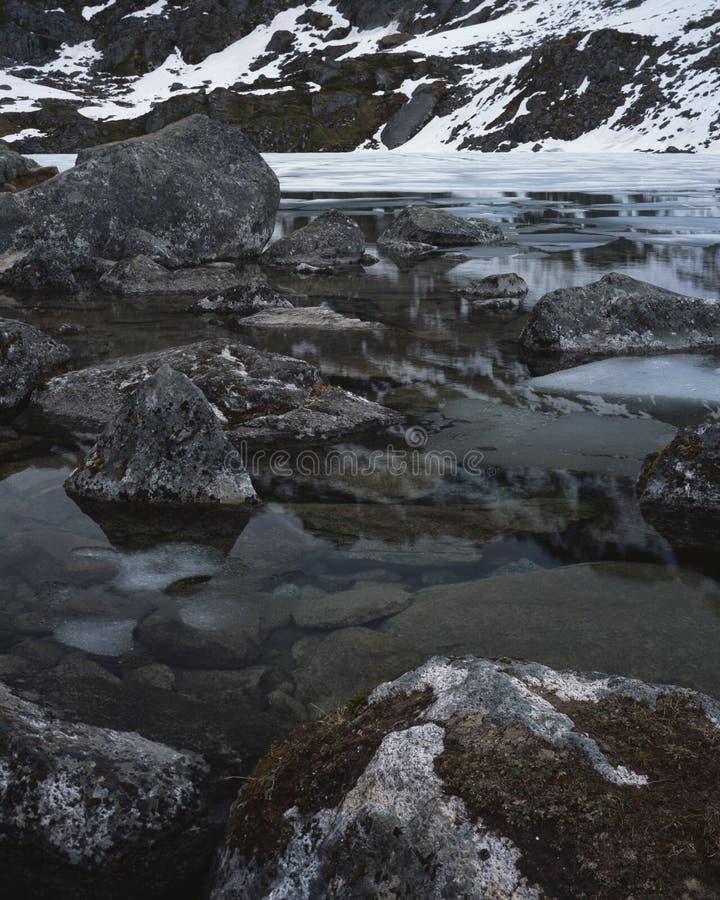 La glace se cassent vers le haut sur le lac mountain image libre de droits