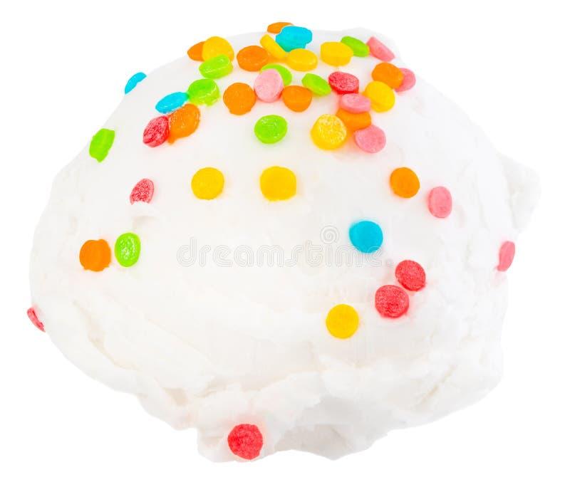 La glace ? la vanille ?cope la vue de c?t? sur le fond blanc avec le chemin de coupure images stock