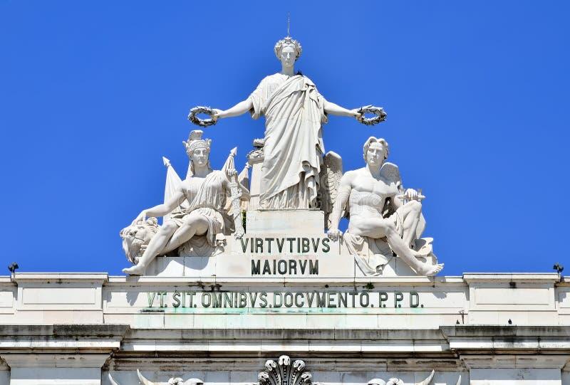 La gloria, particolare dell'arco di Rua Augusta, Lisbona fotografie stock libere da diritti
