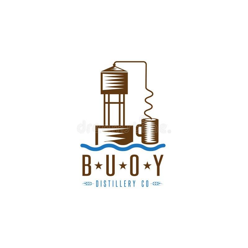 La gnôle maintiennent à flot toujours la conception de vecteur de concept de distillerie illustration stock