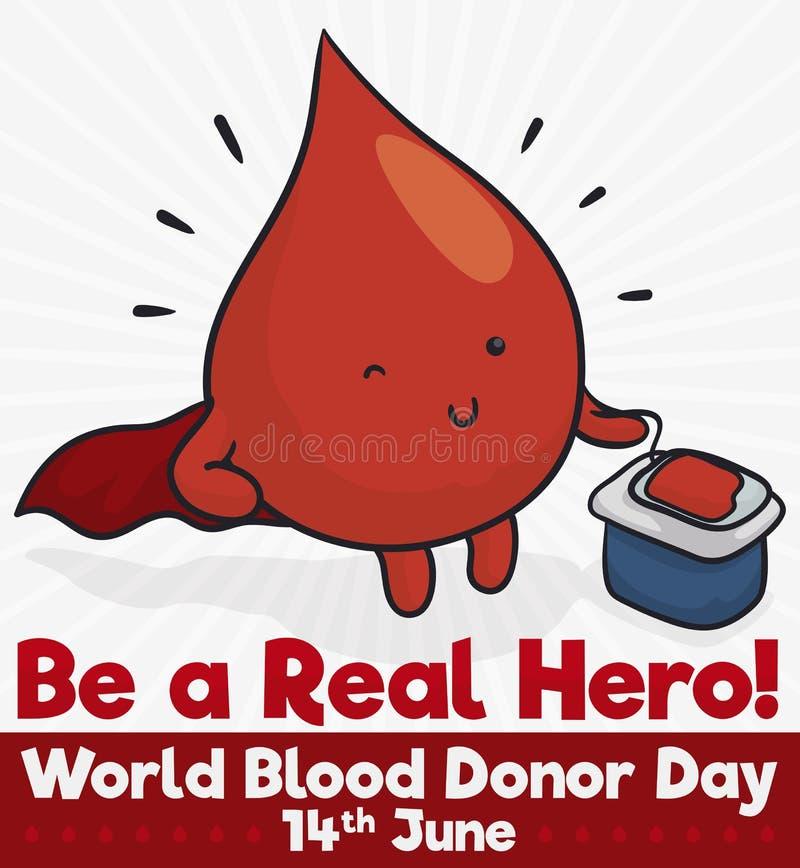 La goccia del sangue gradisce un eroe per il giorno erogatore del mondo, illustrazione di vettore illustrazione di stock