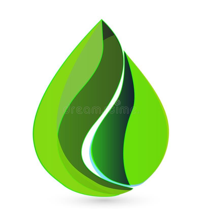 La goccia di acqua copre di foglie logo illustrazione vettoriale