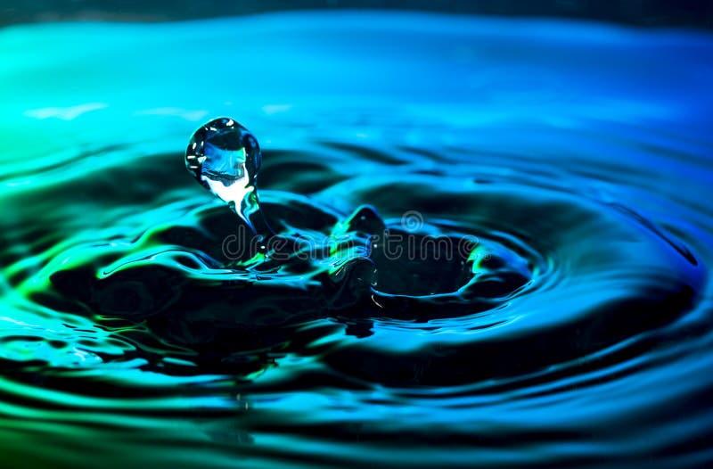 La goccia di acqua e le ondulazioni hanno sparato sul fondo piacevole del turchese di verde blu fotografia stock