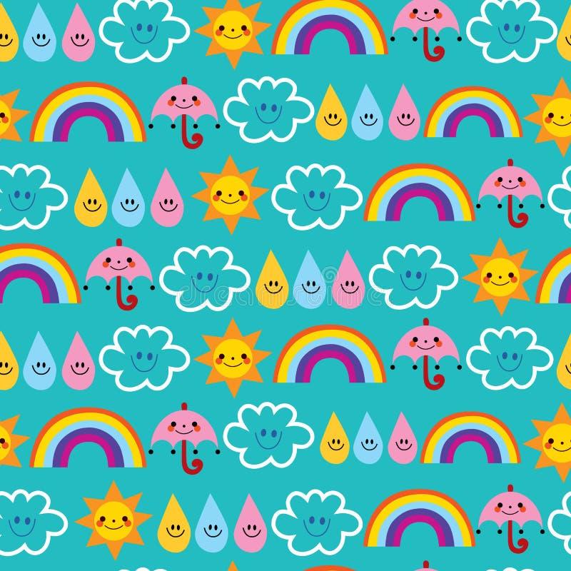 La goccia di pioggia sveglia dell'ombrello di sole si appanna il modello senza cuciture dell'arcobaleno royalty illustrazione gratis