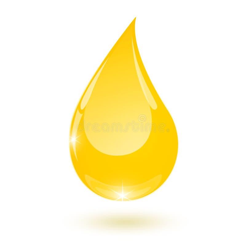 La goccia gialla di olio vegetale cade il vettore giù isolato illustrazione di stock