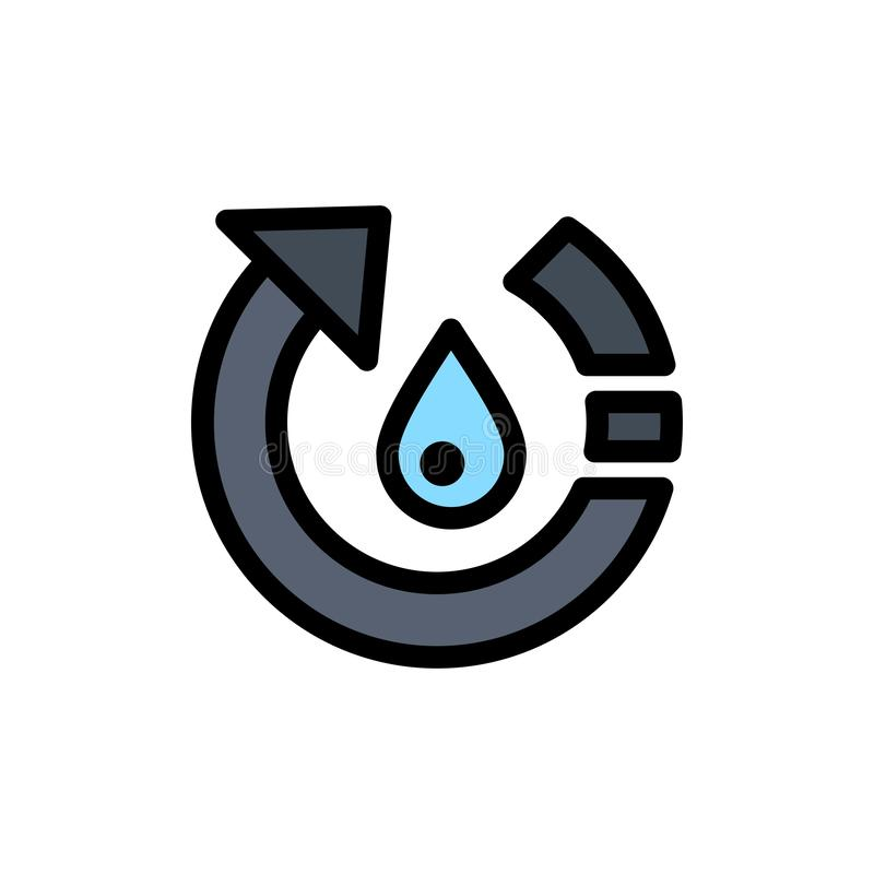 La goccia, l'ecologia, ambiente, natura, ricicla l'icona piana di colore Modello dell'insegna dell'icona di vettore illustrazione vettoriale
