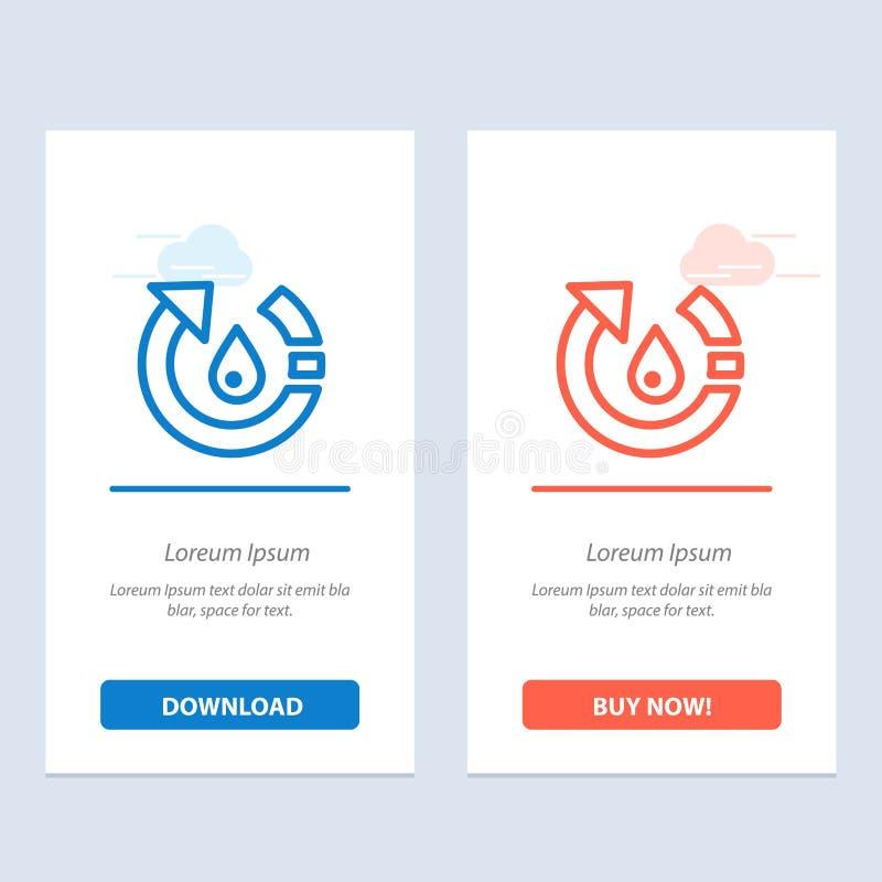 La goccia, l'ecologia, ambiente, natura, ricicla il download blu e rosso e compra ora il modello della carta del widget di web royalty illustrazione gratis