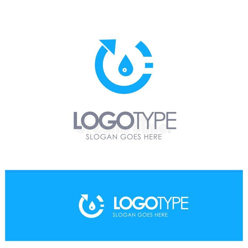 La goccia, l'ecologia, ambiente, natura, ricicla il logo solido blu con il posto per il tagline royalty illustrazione gratis