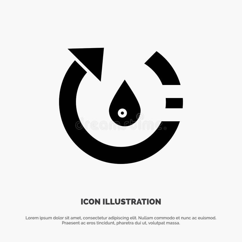La goccia, l'ecologia, ambiente, natura, ricicla il vettore solido dell'icona di glifo royalty illustrazione gratis