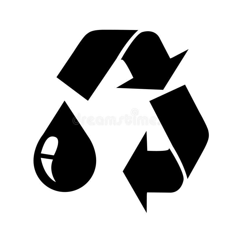 La goccia nera dell'olio con ricicla il segno royalty illustrazione gratis