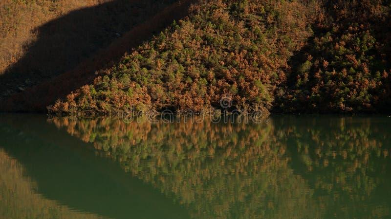 La gola e la montagna di Koman del lago abbelliscono in Albania fotografia stock libera da diritti