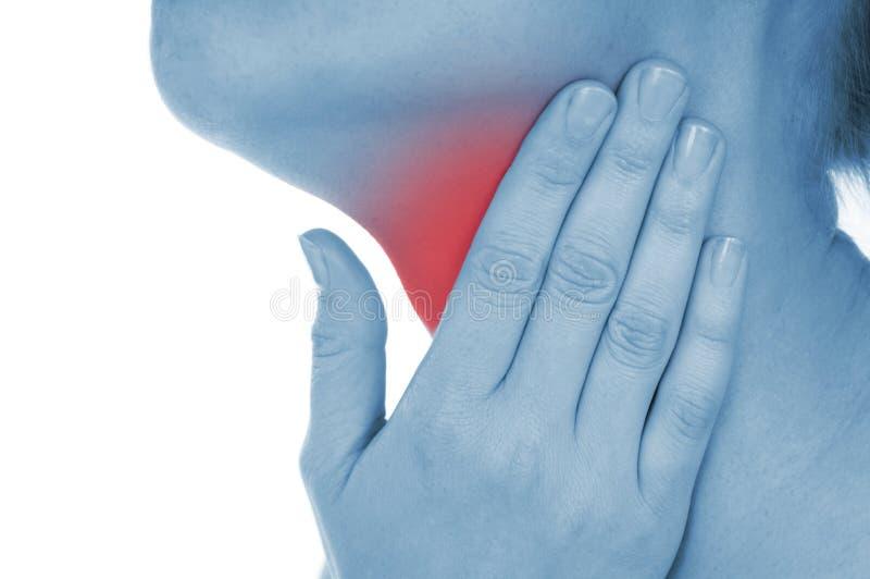La gola irritata, indicata il rosso, tiene passato fotografie stock libere da diritti