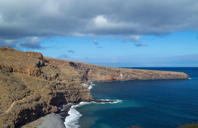 La Gomera, Canary islands. Beaches Del Medio and Playa Chinguarime stock photos