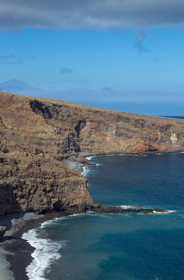 La Gomera, Canary islands. Beaches Del Medio and Playa Chinguarime stock image
