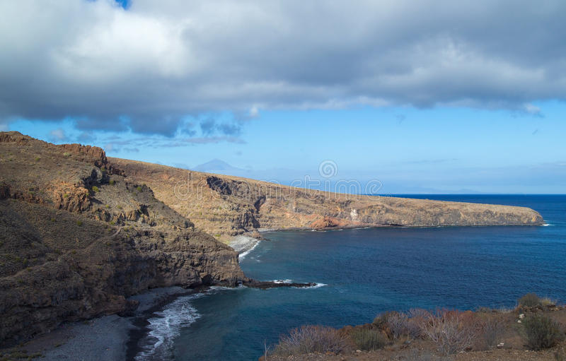 La Gomera, Canary islands. Beaches Playa Del Medio and Playa Chinguarime at the south of the island royalty free stock images