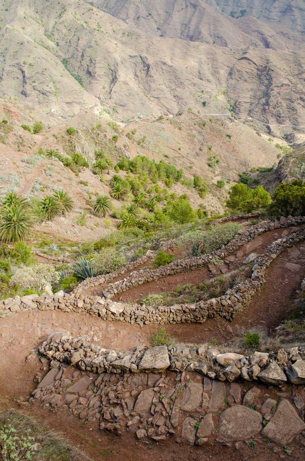 La Gomera, Canary Islands, path from Degollada de Peraza. Spain stock photography