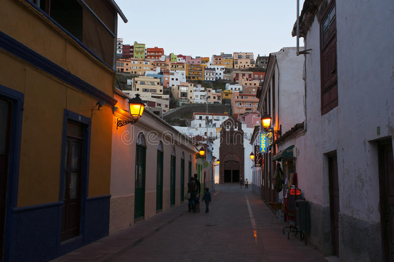 La Gomera. City streets in the evening in the Canary Islands stock photography