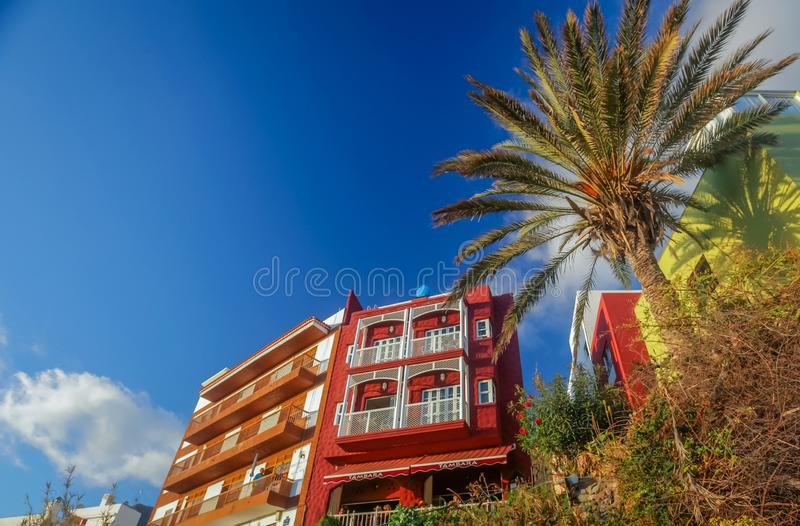 La Gomera colorful hillside homes and hotels royalty free stock images