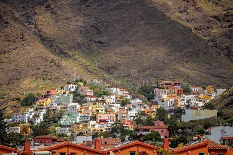 La Gomera hillside homes. Hillside homes in the Valle Gran Rey on the island of La Gomera, Canary Islands, Spain stock photos
