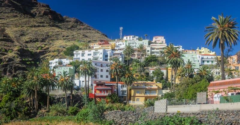 La Gomera hillside homes. Hillside homes in the Valle Gran Rey on the island of La Gomera, Canary Islands, Spain royalty free stock photo
