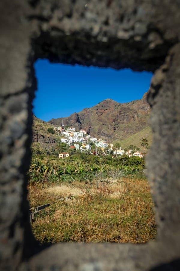 La Gomera hillside homes. Hillside homes in the Valle Gran Rey on the island of La Gomera, Canary Islands, Spain royalty free stock photos