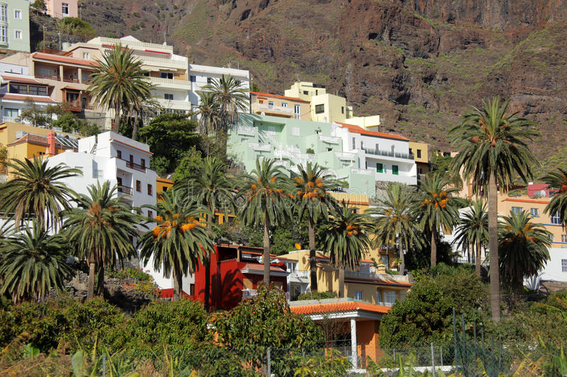 La Gomera hillside homes royalty free stock photo