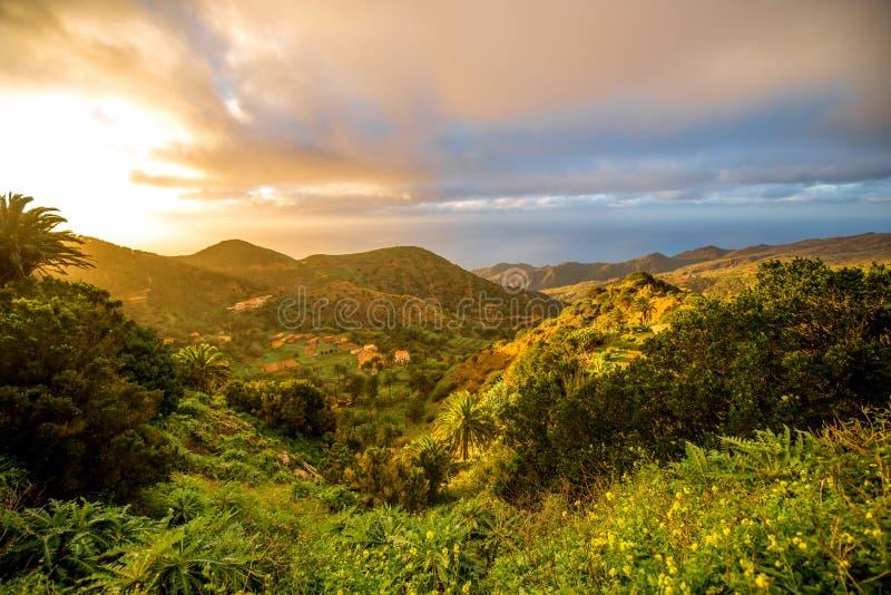 La Gomera island lanscape view. Beautiful landscape view on the western part of La Gomera island on the sunset stock photo