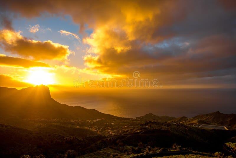 La Gomera island lanscape view. Beautiful landscape view on the western part of La Gomera island on the sunset royalty free stock photo