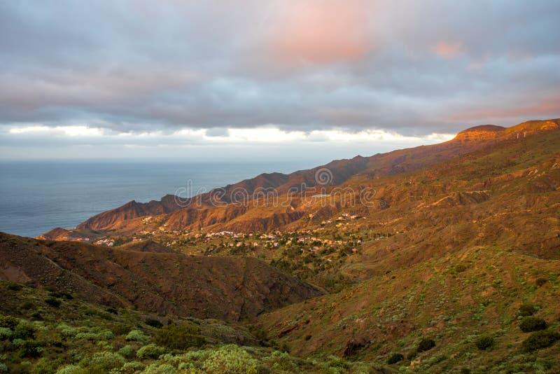 La Gomera island lanscape view. Beautiful landscape view on the western part of La Gomera island on the sunset stock image