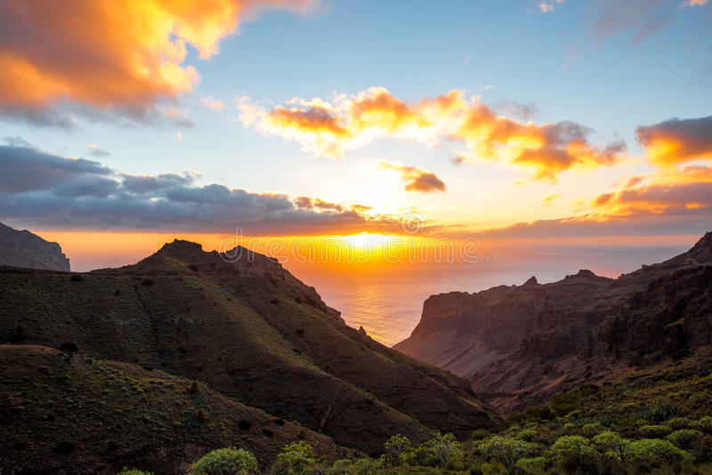 La Gomera island lanscape view. Beautiful landscape view on the western part of La Gomera island on the sunset royalty free stock images