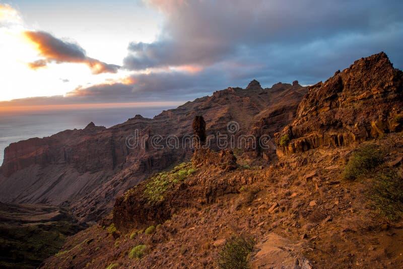 La Gomera island lanscape view. Beautiful landscape view on the western part of La Gomera island on the sunset stock photos