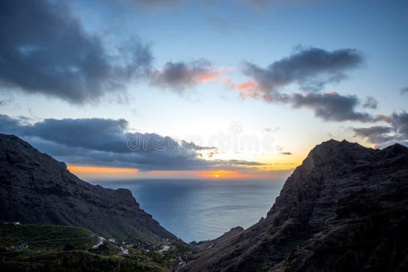 La Gomera island lanscape view. Beautiful landscape view on the western part of La Gomera island on the sunset royalty free stock photography