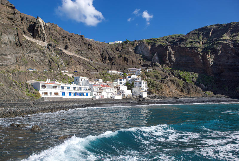 La Gomera - Playa de Alojera. Playa de Alojera in the northwest of La Gomera, Canary Islands, Spain, taken from a far out to sea going landing stage stock images