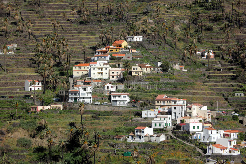 La Gomera terraces. Hillside homes in the Valle Gran Rey on the island of La Gomera, Canary Islands, Spain royalty free stock photo
