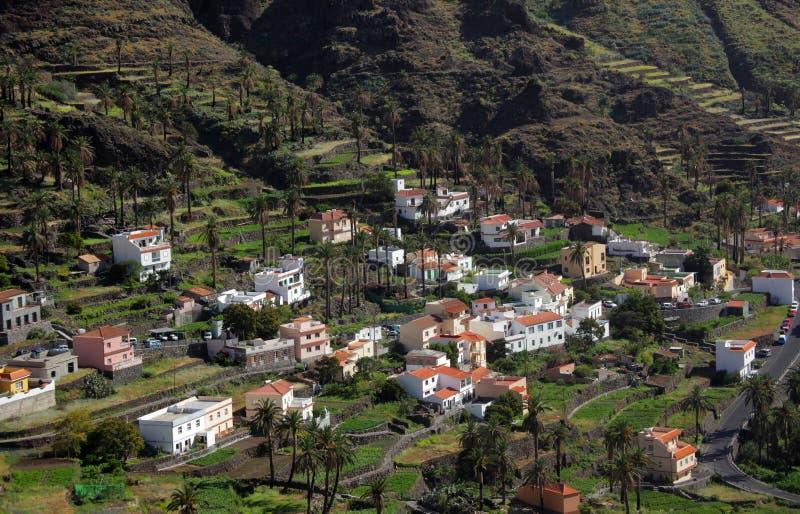 La Gomera terraces. Hillside homes in the Valle Gran Rey on the island of La Gomera, Canary Islands, Spain stock photography